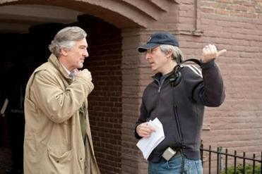 "Robert De Niro (left) talks with director Paul Weitz on the set of ""Being Flynn,'' a movie based on local author Nick Flynn's memoir."
